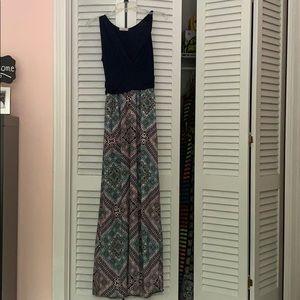 Navy/multi colored sleeveless Maxi Dress